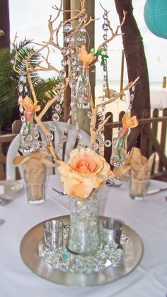 Sand Petal Weddings offers the convenient rental service of beach style centerpieces for ease to the traveling destination bride. Beach Wedding Reception, Wedding Reception Centerpieces, Center Pieces, Mason Jars, Peach, Table Decorations, Bride, Wedding Bride, Centerpieces