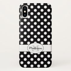 Trendy Black and White polka dots pattern Monogram iPhone X Case - pattern sample design template diy cyo customize