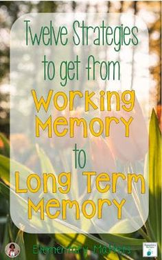 Twelve Strategies to Get from Working Memory to Long Term Memory: things to remember to help that learning stick! So important if you teach students with special learning needs and other challenges. Easy and practicial tips you can do in your classroom Memory Strategies, Short Term Memory, Working Memory, Visual Memory, Learning Support, Executive Functioning, Instructional Strategies, Teacher Hacks, Elementary Teacher