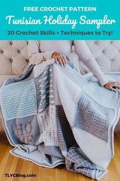 TL Yarn Crafts - Tunisian Holiday Sampler Blanket - FREE CROCHET PATTERN | TL Yarn Crafts
