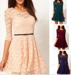 2014 del nuevo diseñador de la marca de fábrica , vestidos de las mujeres del color del caramelo del vestido elegante del cordón para las mujeres , más tamaño Forme a señora de Invierno Vestidos en Vestidos de Moda y Complementos en AliExpress.com   Alibaba Group