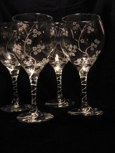 Hand Engraved Cherry Blossom Wine Glasses on Etsy - love the etched stems!
