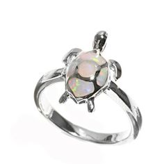 Rhodium Plated Sterling Silver Wedding & Engagement Ring Lab Opal Turtle Ring 16MM ( Size 5 to 9) Double Accent. $28.99