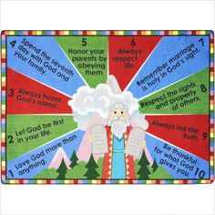 Looking for a great Sunday School Rug? The 10 Commandments Sunday School Rug help teach children that these ten simple rules are e Bible Bulletin Boards, Christian Bulletin Boards, School Bulletin Boards, Sunday School Lessons, Sunday School Crafts, Bible Story Crafts, Bible Stories, 10 Commandments, Religious Education