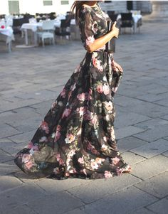 Floral print maxi chiffon dress with scoop back by NelliUzun, $230.00