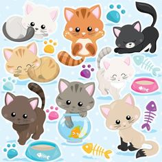BUY 20 GET 10 OFF Cat clipart commercial use kitten cats clipart vector graphics kitty clipart digital clip art digital images - by Prettygrafikdesign Kit Scrapbook, Illustrator, Cat Clipart, Beautiful Kittens, Image Paper, Image Clipart, Clip Art, Cat Party, Digital Stamps