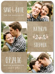 Wreathed in Love - Signature White Photo Save the Date Cards in Cashmere Pink or Lightest Turquoise   Lady Jae