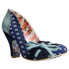 Make My Day Navy Blue - This pair will make your day! A comfortable mid heel featuring a navy retro print upper, and a lace and tie bow embellishment along the front scalloped seam.