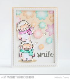 Beast Friends Stamp Set and Die-namics, Stitched Rectangle Scallop Edge Frames Die-namics, Stitched Flowers Die-namics, Shadow Ovals Die-namics, All Occasion Sentiments - Melania Deasy  #mftstamps
