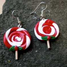 Christmas Lollypop Earrings by moonknightjewels on Etsy, $4.50