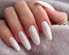 Sparkly Acrylic Nails Glitter 34 summer nails ideas + 2 ideas for summer pedicure. Selection of nude nails, colorful nails as well as marble nails.Almost everyone loves glitter on their nails. If you're up for some shimmer and glamou Acrylic Nails Coffin Glitter, Silver Glitter Nails, Coffin Nails Long, Long Nails, Marble Nails, Nail Art Stripes, Striped Nails, White Nails, Nude Nails