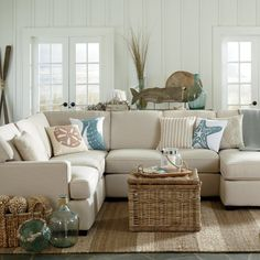 Get inspired by Coastal Living Room Design photo by Krista + Home. Wayfair lets you find the designer products in the photo and get ideas from thousands of other Coastal Living Room Design photos. Coastal Bedrooms, Coastal Living Rooms, Coastal Cottage, Cottage Living, Coastal Farmhouse, Coastal Curtains, Coastal Bedding, Master Bedrooms, Bedroom Sets