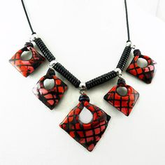 Handmade polymer necklace of tilted red/pink by MaryClaires