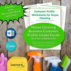 Customize this detailed CUSTOMER PROFILE INTAKE FORM with MS Word and Canva. This easy to edit housecleaning client intake form is exclusively designed for house cleaning business owners Building Cleaning Services, Professional Cleaning Services, House Cleaning Checklist, Cleaning Contracts, Maid Cleaning Service, Cleaning Business, Office Cleaning, Cleaning Hacks, Business Signs