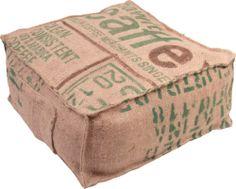 Pouf Sitzkissen Fußkissen ~aus echtem Kaffeesack~  Unikat und Handarbeit.