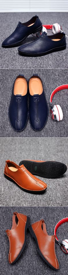 Men Handmade Leather Business Stitching Slip On Casual Shoes 3033376e99