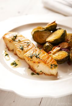 seabass with brussel sprouts and bacon