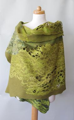 Handmade nuno felting shawl  Hand felted wool and by AudraSfelting