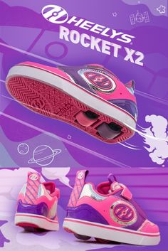 Shop our Heeys Rocket X2! These pink and purple Heelys are sure to turn heads everywhere you go. How will you style these? Shoe Releases, Everywhere You Go, Purple, Pink, Little Girls, Shop Now, Collection, Shopping, Shoes