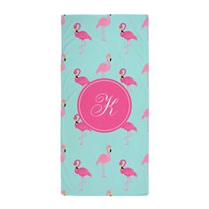 Pink Flamingos Monogrammed Beach Towel