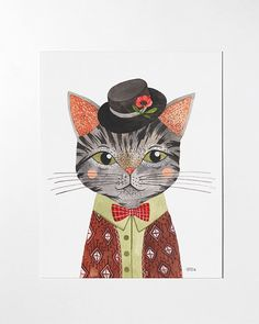 SALE  Cool Cat  8x10 art print by oanabefort on Etsy