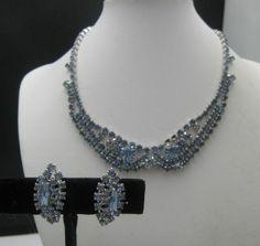c1960's Pale Blue Rhinestone Necklace earrings Keyes