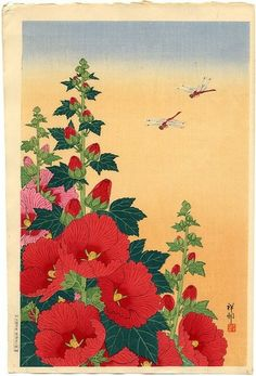 Shoson, Title Flowering Red Hollyhocks and Two Dragonflies Original Japanese Woodblock Print