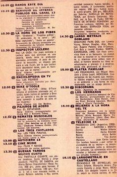 Programación diaria de televisión. Canales 7, 9, 11 y 13, Buenos Aires, década del 60.