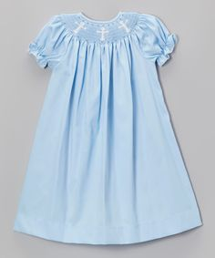 Take a look at this BeMine Light Blue Crosses Bishop Dress - Infant, Toddler & Girls on zulily today!