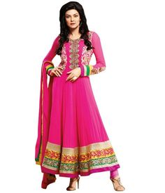50% discount on Pink Embroidered Faux Georgette Unstitched Suit With Dupatta at Snapdeal.com