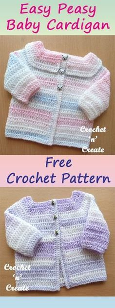 Easy Peasy baby cardigan, this one is also great for the beginner crocheter, #crochet #crochetideas