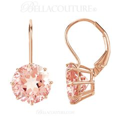 BELLA COUTURE ® - (NEW) Bella Couture® Fine Gorgeous Brilliant Cut 7CT Pink Morganite 14k Rose Gold Lever Back Earrings (10MM), $795.00 (http://www.bellacouture.com/new-bella-couture-fine-gorgeous-brilliant-cut-7ct-pink-morganite-14k-rose-gold-lever-back-earrings-10mm/)