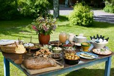 Set dressing and props ideas: rustic, idyllic table for the garden buffet.