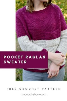 The Pocket Raglan Sweater is a crochet classic raglan pullover sweater that looks chic and is simple to make. It worked top down completely seamlessly and it comes in 8 sizes! Check out the free and easy pattern here. Knitting Designs, Crochet Designs, Knitting Patterns, Sweater Patterns, Crochet Ideas, Crochet Gifts, Crochet Yarn, Free Crochet, Tejidos