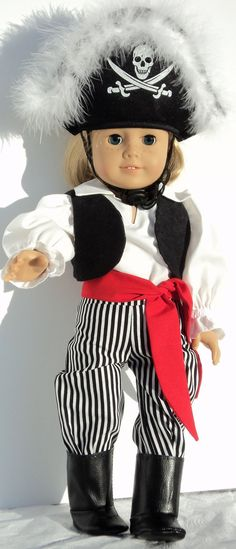This one of a kind PIRATE costume is incredible! The long black and white striped cotton pants have back velcro closure. The white blouse features a