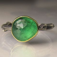 Rose Cut Emerald Twig Ring - 18k Gold and Sterling Silver