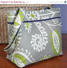"""The """"Ellen"""" Everyday Purse -- Casual Shoulder Bag -- Gray Home Decor Fabric with Purple Lining - by Sew Much Cuteness"""