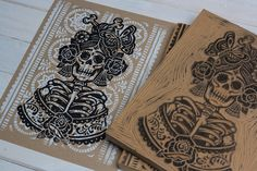 With the La Rosa Catrina print, I am exploring the Dia De Los Muertos symbolism used through out Mexico. This is a lighter depiction of Catrina, celebrating the beauty that can be found in death.Each print is hand printed from hand carved blocks. Ex Libris, Linocut Prints, Art Prints, Block Prints, Lino Art, Arte Popular, Sgraffito, Stencil Painting, Gravure
