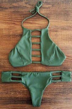 Halter Cutout Green Bikini Set