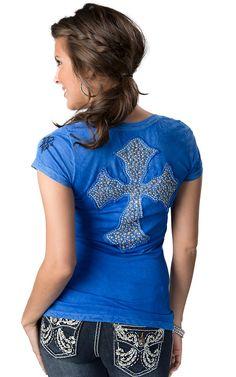 Velvet Stone® Juniors Pacific Blue with Silver Stud & Rhinestones Cross on Back Short Sleeve Tee