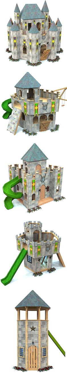 5 castle playhouse plans for download.  Purchase one today and start building your backyard project tomorrow!