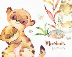Meerkats. Family. Watercolor animals clipart little meerkats
