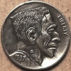 Keith Pedersen - Frankie Hobo Nickel, Coin Art, Buffalo, Coins, Artsy, Monsters, Creepy, Characters, Rooms