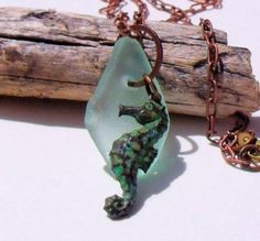Sea horse sea glass necklace...for Lorea <3