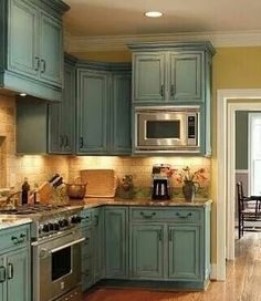 I would love to have our cabinets this color! ♡ some day when I own my place!!!