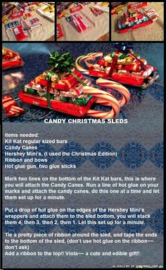 Candy Christmas Sled  #crafts #DIY #candy #Christmas #gifts  This brings back memories of when i would spend a day with my boys making christmas cookies :) Christmas Candy Crafts, Christmas Sleighs, Christmas Projects, Christmas 2017, Candy Cane Crafts, Christmas Sled, Christmas Cookies, Homemade Christmas, Diy Christmas Gifts