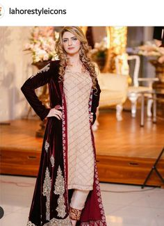 Whatsapp +919646916105 Royal Threads Boutique  Velvet gown / overcoat - Pakistan formal wear