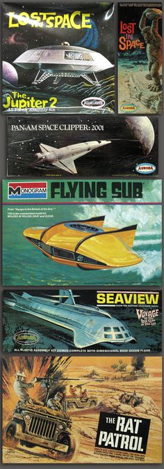 tvmodels I had growing up. Had the flying sub, the Seaview, got Jupiter 2 later in life. Also a few Star Trek models (Enterprise, Constellation, Romulan Warbirds, Klingon Battle Cruiser, tricorder, communicator, phaser gun, Enterprise bridge), the Land of the Giants Spindrift, Space 1999 shuttle, Flying saucer from the movie of same name, UFO with tiny ship docking bay, and a few different Star Wars models... whew!