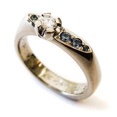"Tero Hannonen for AU3 Kultasepät ~""Square"" wedding ring, White gold, diamond and blue sapphire.   AU3.fi"