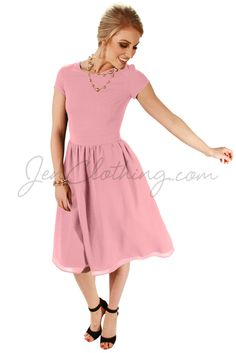 """JenClothing's """"Lucy"""" Semi-Formal Modest Dress in Blush Pink"""